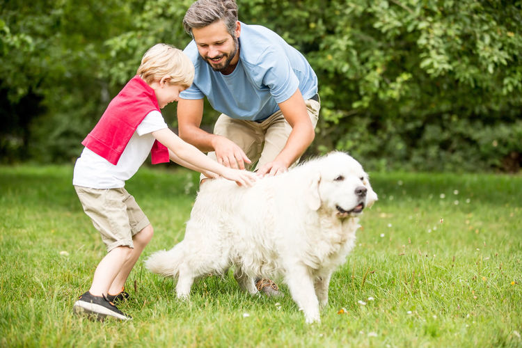 Playful Father And Son Playing With Dog On Grassy Field In Park