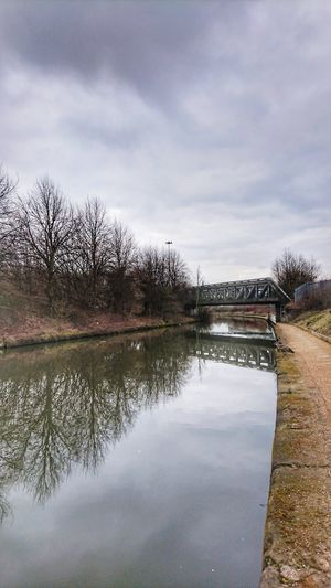 Winter Rural Cold Dramatic Sky Waterway Industrial Canal Reflections In The Water