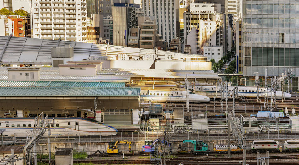 High angle view of the tracks of tokyo railway station in the chiyoda city, tokyo, japan.