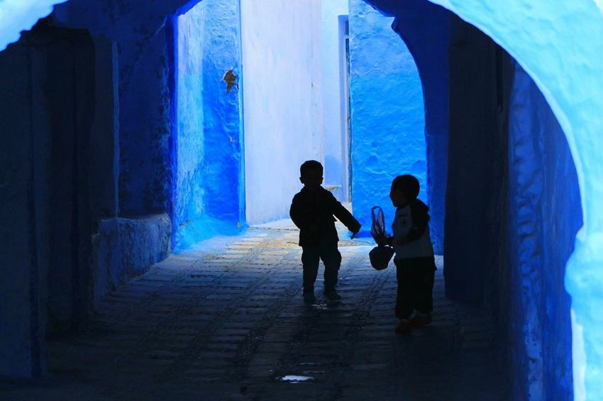 Real People Two People Full Length Silhouette Built Structure Day Architecture Men Indoors  Horizontal People Kidsphotography Kids Being Kids Chaouen MoroccoTrip Shadows & Lights