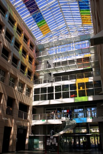 Sunny Day Sunny Tinted Glass Building Interior Colorful Architecture Built Structure Window Modern Occupation Working Indoors  Day City Colour Your Horizn