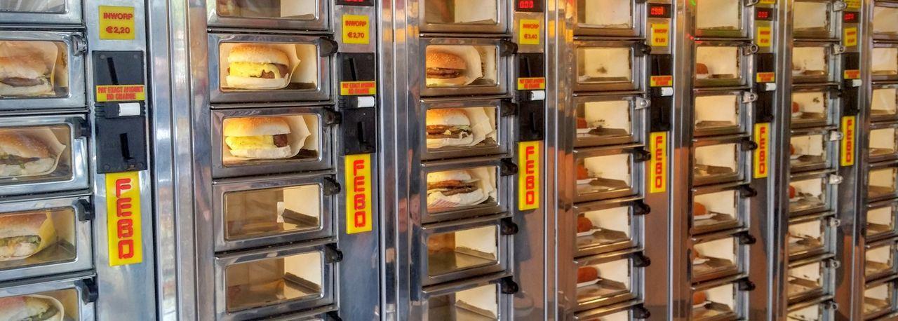 Panoramic view of burgers in vending machine