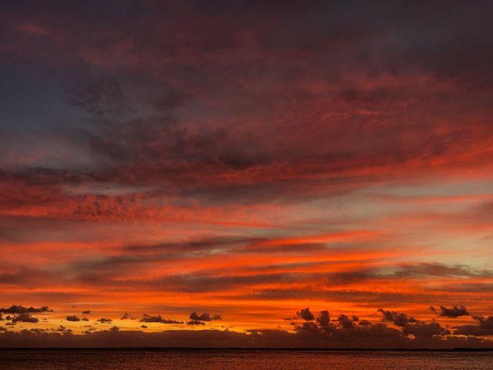 Le Morne Mauritus True Colors Cloud - Sky Sunset Sky Sea Water Beauty In Nature Scenics - Nature Dramatic Sky Orange Color Horizon Horizon Over Water EyeEmNewHere