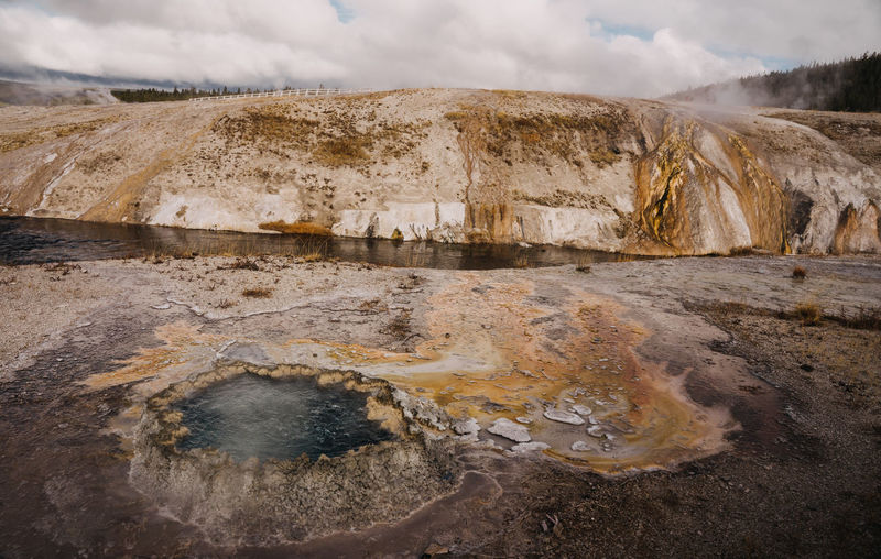 Yellowstone Yellowstone National Park Wyoming Geothermal  Geothermal Activity Geyser Hot Springs Sky Cloud - Sky Nature Water Geology Environment Beauty In Nature Scenics - Nature Landscape No People Physical Geography Non-urban Scene Mountain Day Tranquility Steam Rock Tranquil Scene Outdoors Land Hot Spring Power In Nature Arid Climate