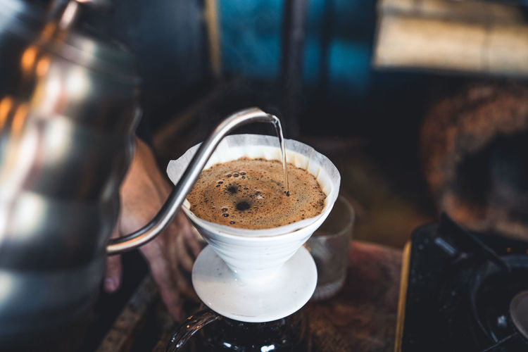 High angle view of coffee on table