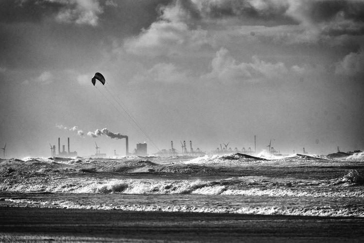 A beautiful day Sky Flying Sea Cloud - Sky Outdoors Water Nature Kitesurfing Northsea Ocean Scheveningen  Netherlands Surf Industry Beach Light Blackandwhite Bw Nikon Full Frame Nikond750 Landscape Eye4photography  EyeEm Best Shots EyeEm Gallery