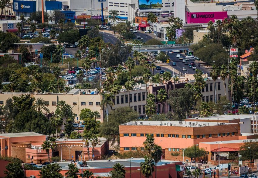 Panoramic view of buildings: Rector's Office of the University of Sonora, Center for the Arts, Boulevard Luis Encinas, Pedestrian Bridge, Liverpool, Cinemex, Office Depot, Banamex, Museum and Unison Library, Sambors. Growth Modernity, , Time Downtown Hermosillo Love Luis Gutierrez Mexico City Norte Photo PROGRESSIVE Panoramic Street, Panoramic Architecture Building Building Exterior City Day Daylight Hermosillo Sonora No People Outdoors Progress Sky Time Tree