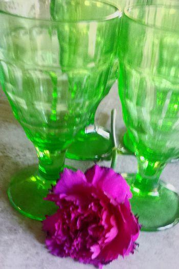 Green Color Fragility Pink Color Close-up Flower Still Life Single Flower Antique Glass Greenglass Beverage Glasses feminine Tablescape
