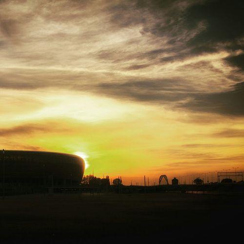 Sunset at the Baltic Arena in Gdansk, Poland.Sunset Soccer Football Stadium Eye4photography  WOW Enjoying The Sun Urban Landscape