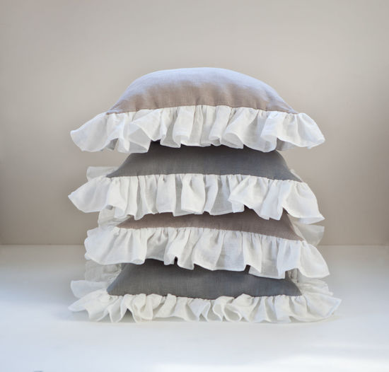 Stack of pillows on table