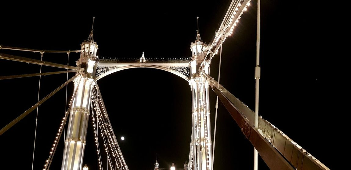 Moon Moonlight Albertbridge Relaxing Quite City Illuminated Bridge - Man Made Structure Architecture Built Structure Sky Suspension Bridge Bridge Full Moon Planetary Moon Electricity Tower
