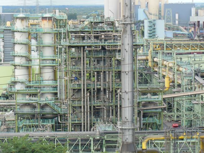 The mild green of the pipes and tubes of the Thyssenkrupp steelplant near Essen Germany. Duisburg Ruhrgebiet Factory Industrial Building  Industry Pipe - Tube Pipeline