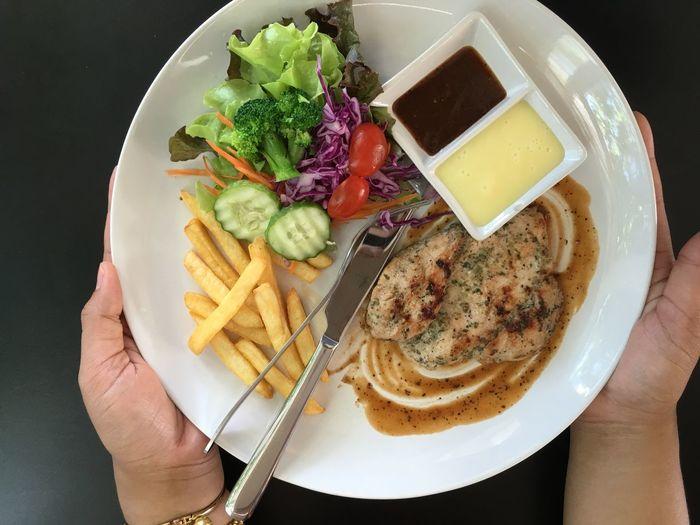 Chicken Steak Salad and Frenchfries