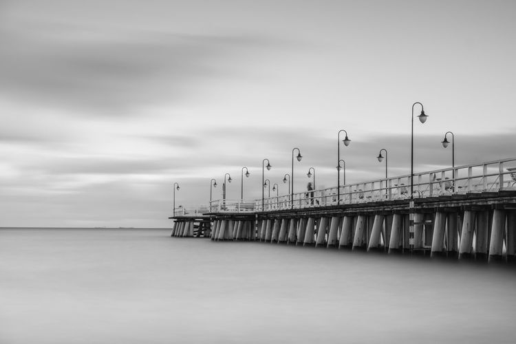 Pier in Orłowo, a long exposure. Baltic Sea Beach Black And White Blackandwhite Clouds Construction Day Gdynia Horizon Over Water Long Exposure Nature No People Orłowo Outdoors Pier Poland Sea Sky Structure Water