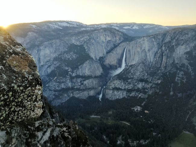 Landscape Mountain Scenics Travel Destinations Power In Nature Waterfall Outdoors Vista Yosemite National Park Granite Viewpoint Cliff Yosemite Valley Sunset Beauty In Nature Nature Iconic Landscape Mountain Range