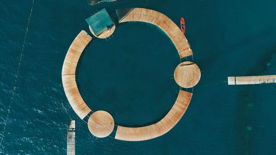 Blue Sky Blue Reef Directly Above Close-up Jellyfish Ocean Circle Circular Big Wheel