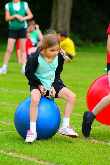 The Color Of Sport Child Girl School Sports Day💁👌 TEAMS Red Yellow Blue Green Space Hopper Race Field