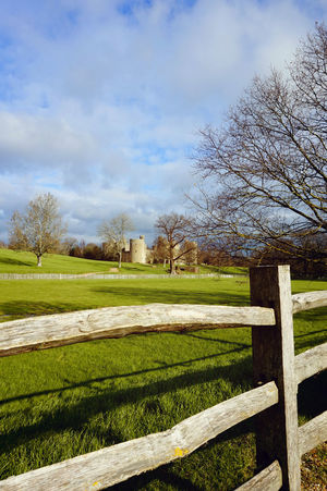 Grassy field and estates Day Environmental Conservation Fence Field Grass Grassy Green Color Landscape No People Outdoors Rural Scene Tree Wood