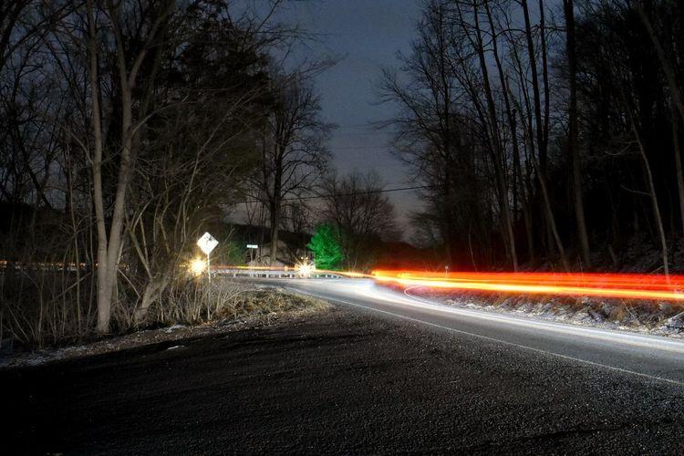 Driving Night Photography Road Street At Night Bare Tree Blurred Motion Illuminated Light Trail Long Exposure Long Exposure Night Photography Motion Night No People Road