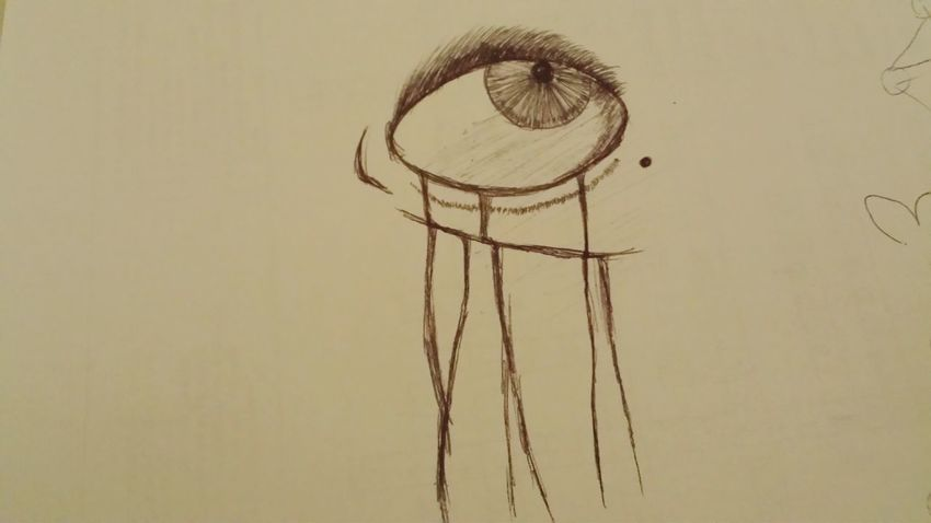 Drawing+picture😊 Creative Drawing ✏ Artistic Sadness Sadness... Sadness And Sorrow Crying Eye Depression