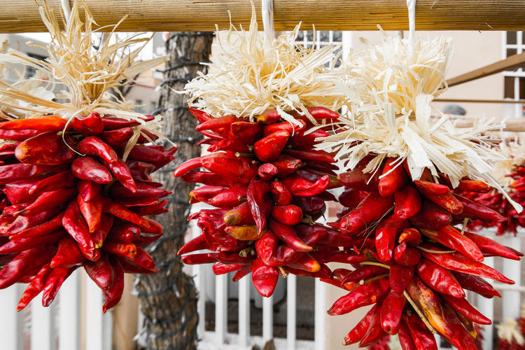 Close-Up Of Red Chili Pepper Hanging