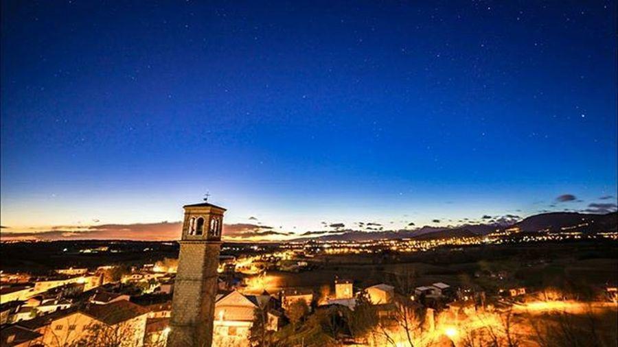 Blue hour in Mels Mels Belltower Sunset Tower Village Mountains Italy Travel Medieval Historic Friuliveneziagiulia Friuli Friuli_bestsunset Loves_friuliveneziagiulia Instafriuli Cloudscape Starscape Lights Fvglive Ig_udine