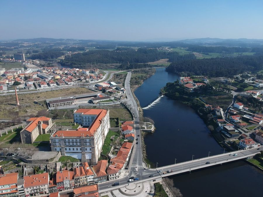 Mosteiro de Santa Clara - Vila do Conde, Portugal DJI X Eyeem Architecture Beauty In Nature Bridge - Man Made Structure Building Exterior Built Structure City Cityscape Clear Sky Connection Day Dji Spark High Angle View Nature No People Outdoors Residential Building Rio Ave River Sky Town Travel Destinations Tree Vila Do Conde Water
