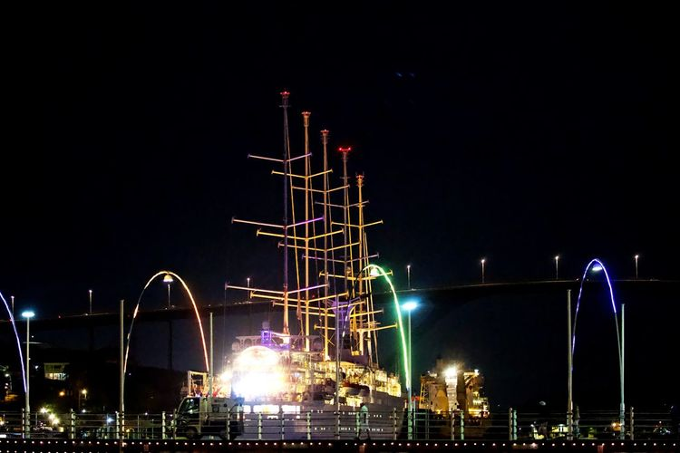 Night Illuminated Architecture Sky No People Lighting Equipment Transportation Sailboat Caribbean Night