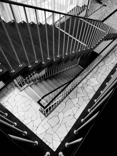 Coberlin Berlin Photography Berlin Berliner Ansichten Tranquility Treppengeländer Treppenhaus Stairway To Heaven Stairs Staircase Architecture Indoors  Steps And Staircases High Angle View Railing Built Structure No People Metal Building Sunlight Day