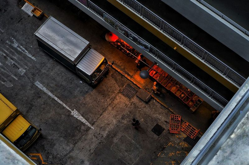High Angle View Road Street City People Manual Worker Aerial View Outdoors Working Day Singapore Streetphotography Tones And Contrast Fresh On Market 2017