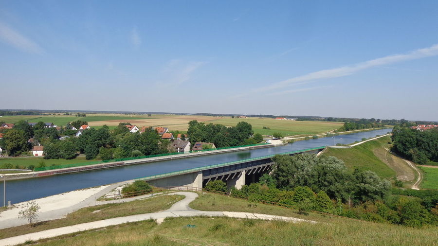 High Angle View Civilisation Kanalbrücke Channel Blue Sky Main Donau Kanal