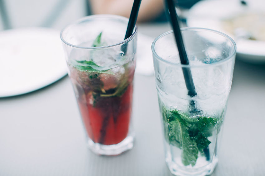 Breakfast City Break Cafe Cafe Time Drink Drinking Glass Drinking Straw Food And Drink Freshness Lunch Time Mint Mohito Refreshment Summer Table