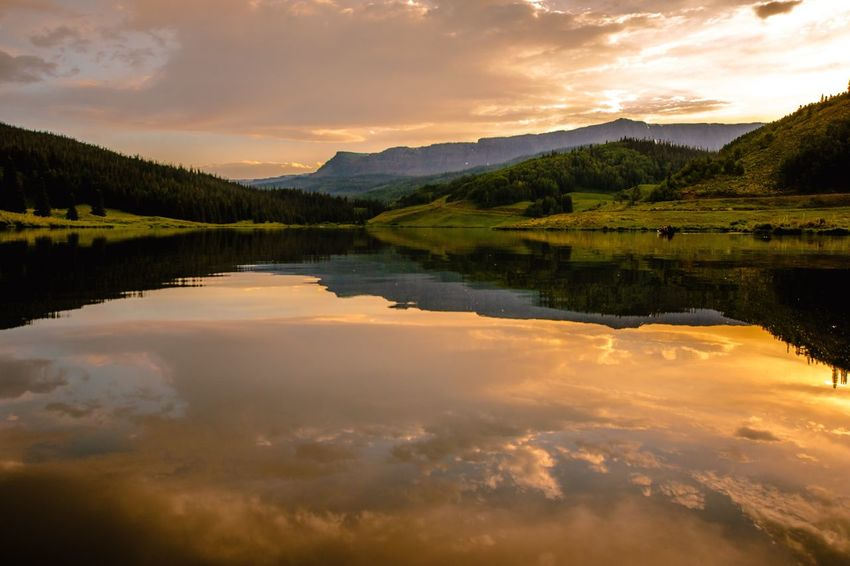 Water Reflection Cloud - Sky Lake Sky Scenics - Nature Tranquility Mountain Beauty In Nature Nature Tree Idyllic Plant No People Non-urban Scene Environment Landscape Tranquil Scene Sunset Outdoors