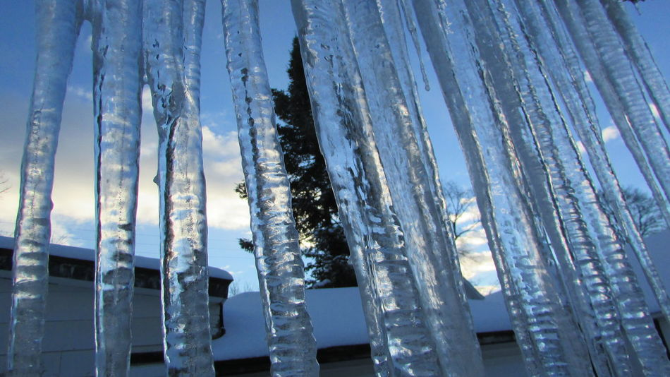 Cold Temperature Icicles Hanging Very Cool ✌ From My Doorstep Looking Out Blue Sky Cadillac Michigan cadillac michigan