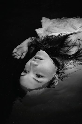 Fine Art Photography Black And White Photography Black And White Water Water Boudoir Water Goddess Goddess Of Water Waterbound Fine Art People Drowning Weightless Lovely Tranquility Beauty In Nature Monochrome Photography Inner Power