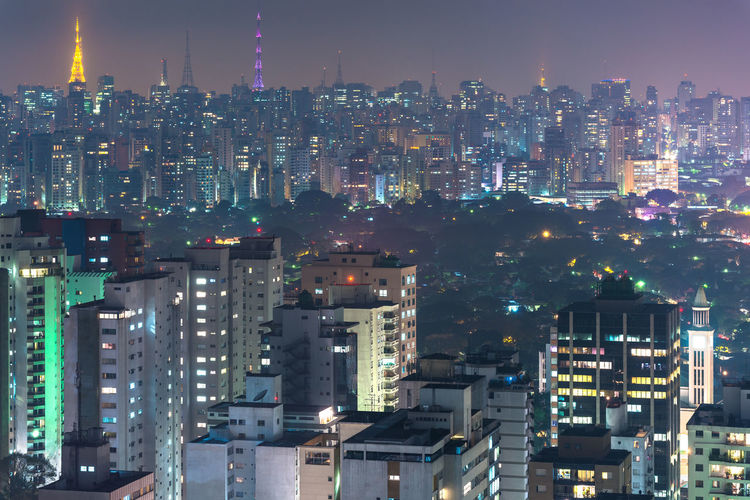 Panoramic view of Sao Paulo, Brazil, South America Apartment Buildings Architecture Brazil City Cityscape Latin America Sao Paulo - Brazil Skyline São Paulo Aerial View Brazilian Buildings Crowded Densely Populated Illuminated Latin American Night Populated