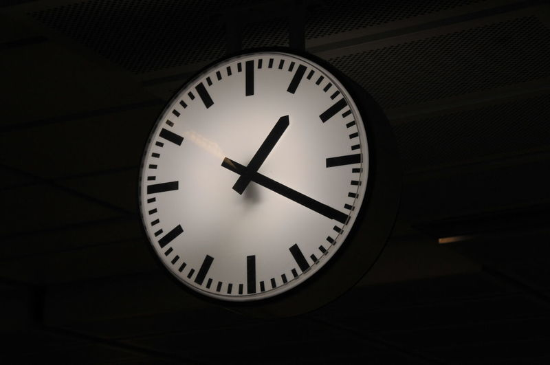 Clock Clock Face Close-up Indoors  Low Angle View Minute Hand Night No People Time