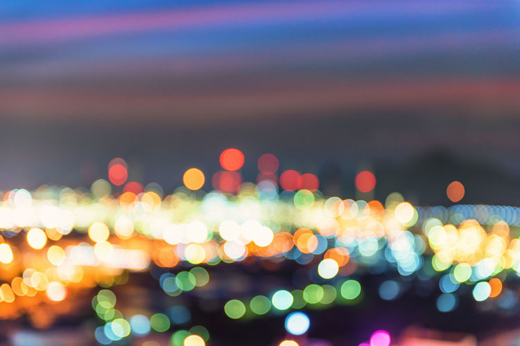 Defocused image of colorful lights at night