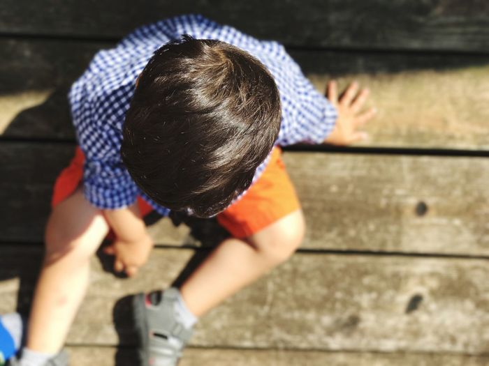 Close-up of boy playing outdoors