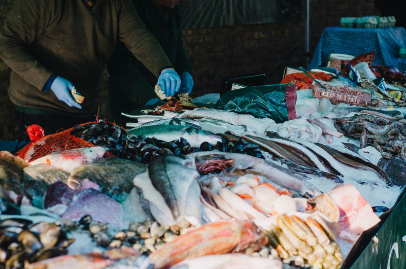 High Angle View Of Fresh Seafood At Fish Market