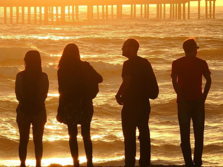 Beach Life Couple Lifestyle Standing Beach Beach Sunset Endless Summer Group Of People Men Men And Women Nature Ocean Ocean Beach Ocean Beach San Diego Ocean Beach, Ca Outdoors Silhouette Sky Sunset Waves, Ocean, Nature