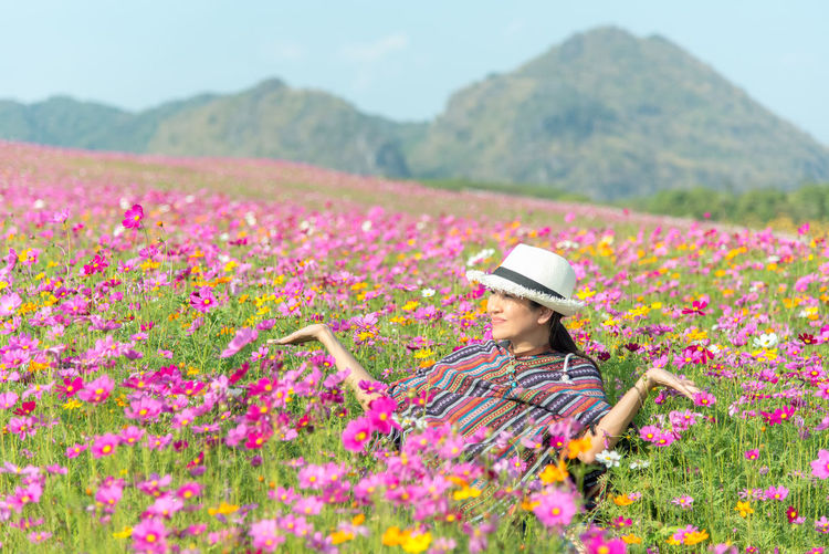 View of pink flowers on field