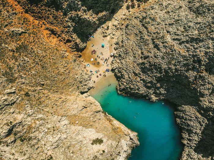 High angle view of beach on sea shore in crete, greece
