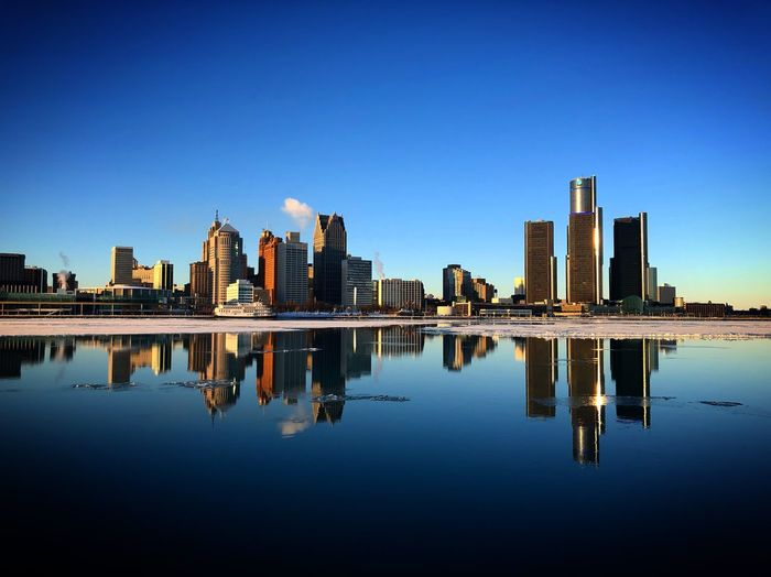 Detroit from the other side Winter Cold River Nature No People City Building Building Exterior Office Building Exterior Skyscraper Standing Water Outdoors Built Structure Symmetry