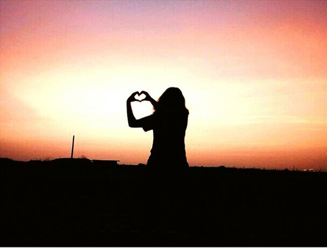 love life, life will love you❤❤❤ Silhouette Sunset One Person Standing People Outdoors Nature Landscape Sky Day