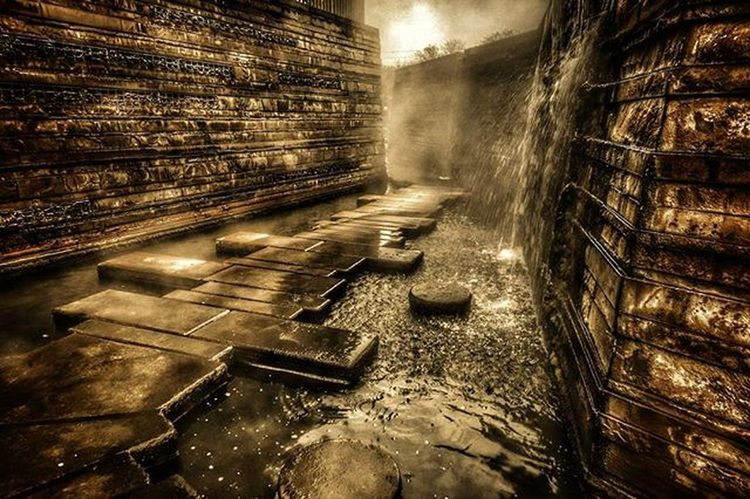 Pathway into Mordor EEprojects LiveTravelChannel Travelawesome Industrial Architecture Design Waterpark Waterfall Brickwall Exterior Architecturephotography Wasserpark AlleywayGermany Saarland Way2ill Pathway Pathways Mystical Place Fantasy World Corridor Fear Factory Mist Fps Exploretocreate