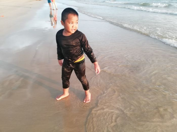 Children enjoy on summer trip 2019,หาดเจ้าหลาว Achi2019 Childhood Child Water One Person Full Length Boys Real People Leisure Activity Males  Lifestyles Casual Clothing Men Beach Day Nature Innocence Outdoors