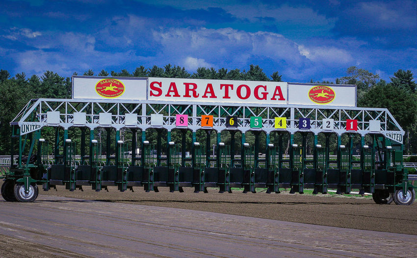 A starting gate at Saratoga Race Course in Saratoga Springs, New York. Cloud - Sky Horse Race Horse Races Horse Racing No People Outdoors Saratoga Ny Saratoga Race Course Saratoga Springs Starting Gate Starting Gates Thoroughbred Thoroughbredracing Upstate New York Upstate NY