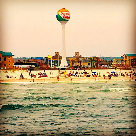 Beachfront from the pier on Pensacola Beach with iconic water tower Beach Beach Day Beach Life Day Florida Gulf Of Mexico LoveFl Nature Ocean Outdoors Pensacola Beach Sky Travel Travel Destinations Travel Photography UpsideofFlorida Visitflorida VisitPensacola Water