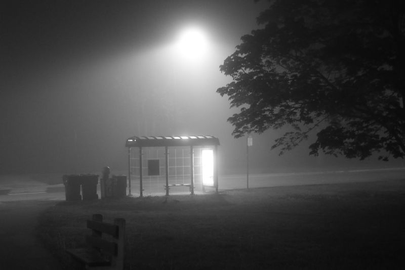 Fogphotography Blackandwhite Blackandwhite Photography Foggy Night Ameturephotography Bus Stop First Eyeem Photo FirstEyeEmPic Canon Canonphotography Canon 80D